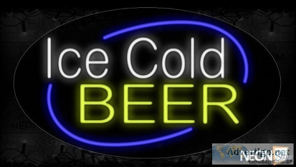 Ice Cold Beer With Curve Border Neon Sign