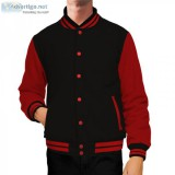 Black and red letterman jacket baseball