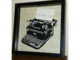 Ikea Framed Art of a Typwriter with typed Words and &quotI LOVE