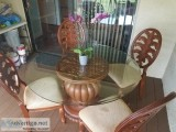 Tropical wood dining table and  chairs in round