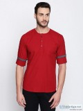 L.A. SEVEN Mens Casual Solid Maroon Full Sleeves Slim Fit Cotton